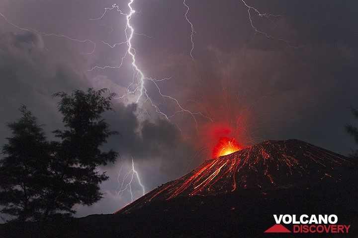 Anak Krakatau eruption June 2009: storm, thunder & lightning