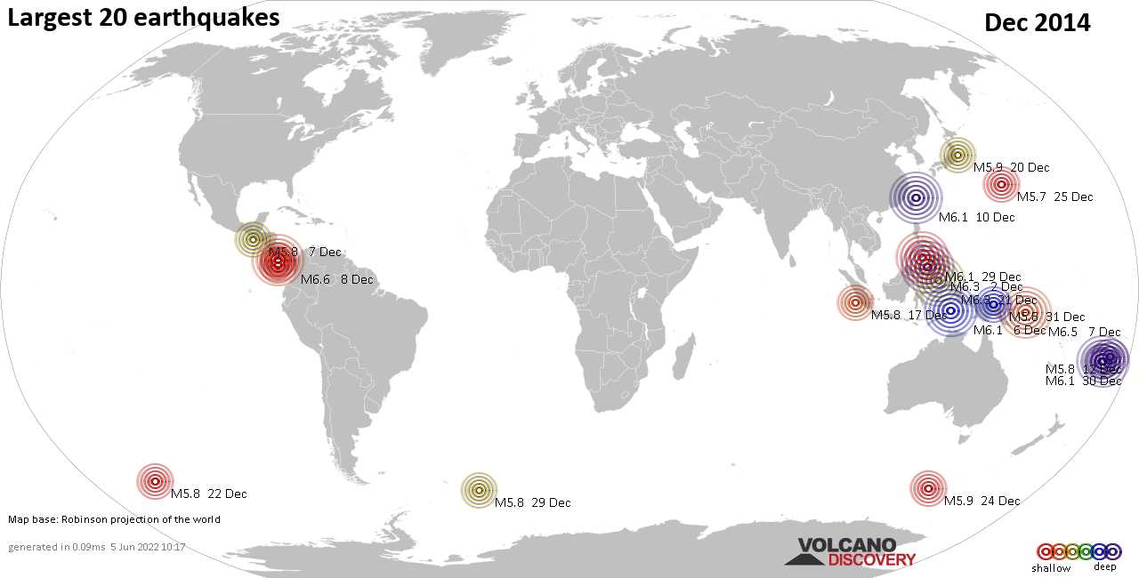 List, maps and statistics of the 20 largest earthquakes in Dec 2014