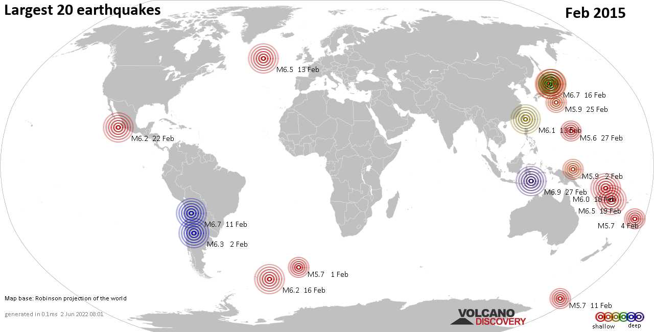 List, maps and statistics of the 20 largest earthquakes in Feb 2015