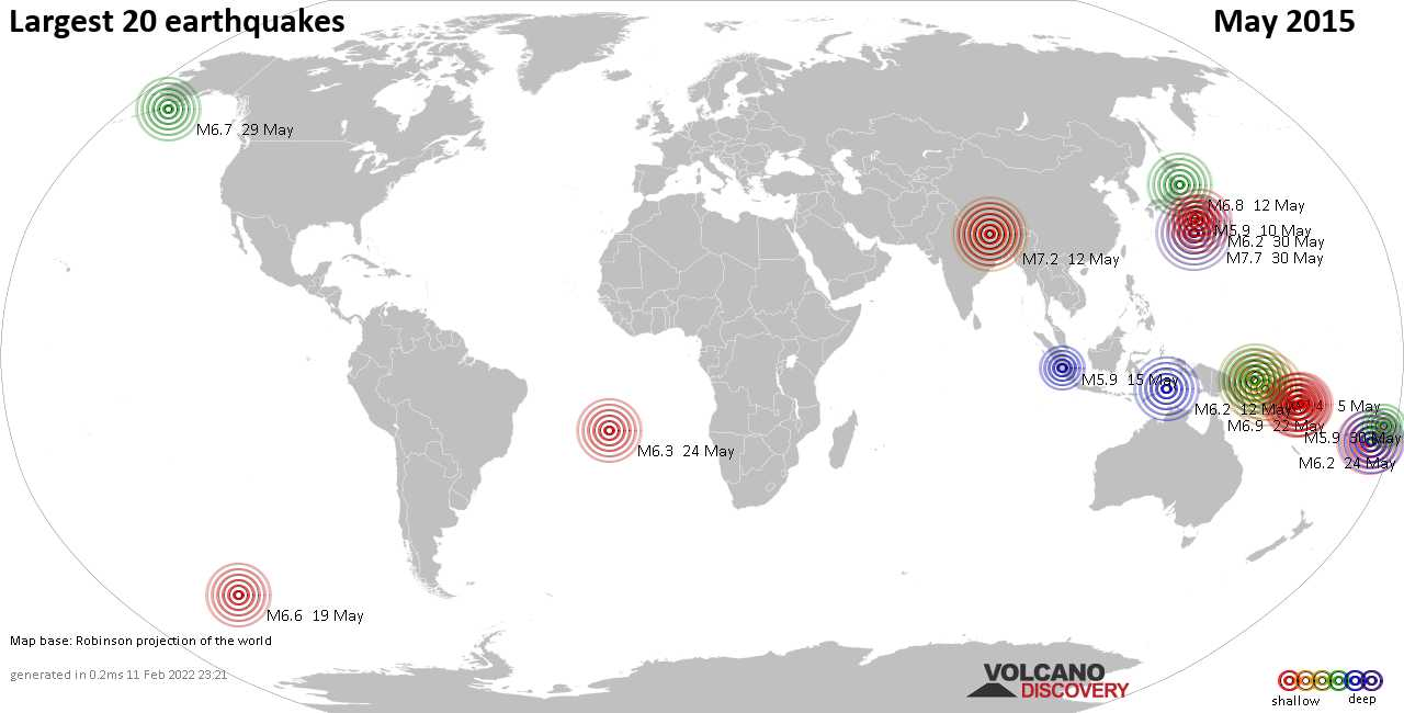 List, maps and statistics of the 20 largest earthquakes in May 2015
