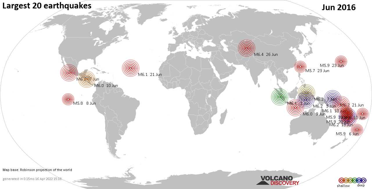 List, maps and statistics of the 20 largest earthquakes in Jun 2016
