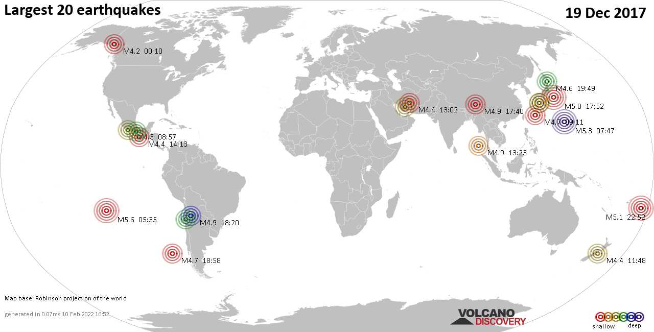 List, maps and statistics of the 20 largest earthquakes on Tuesday, 19 Dec 2017