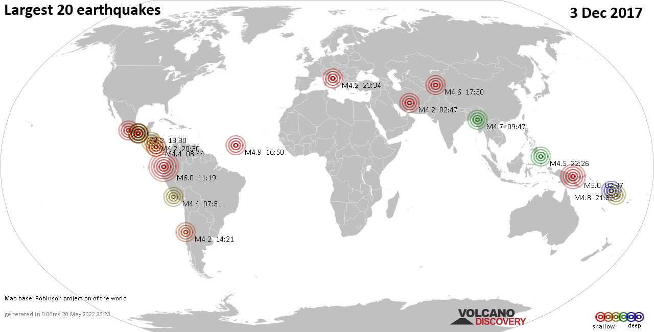 List, maps and statistics of the 20 largest earthquakes on Sunday,  3 Dec 2017