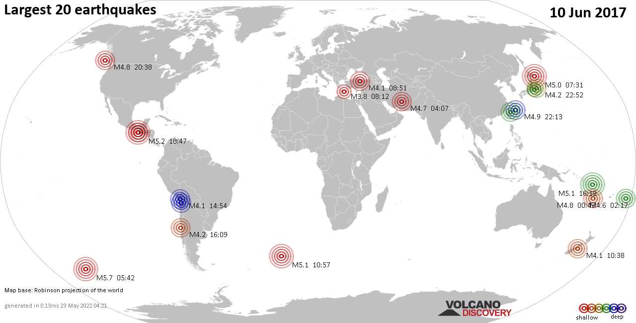 List, maps and statistics of the 20 largest earthquakes on Saturday, 10 Jun 2017