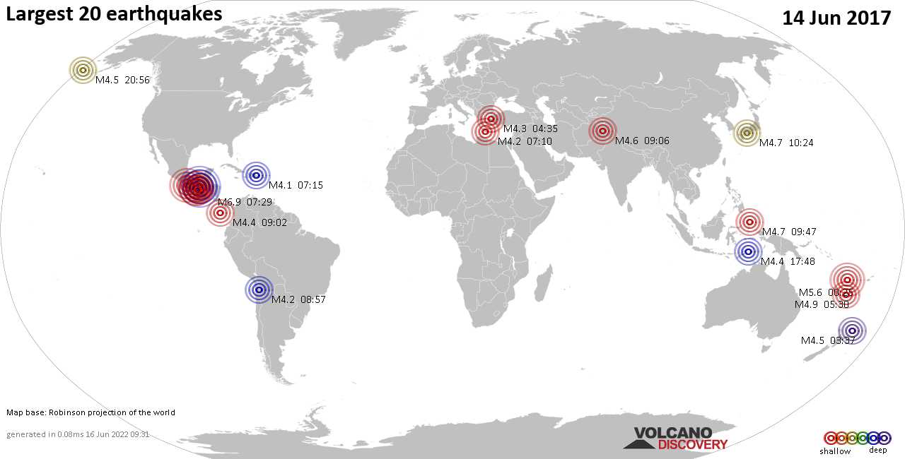 List, maps and statistics of the 20 largest earthquakes on Wednesday, 14 Jun 2017