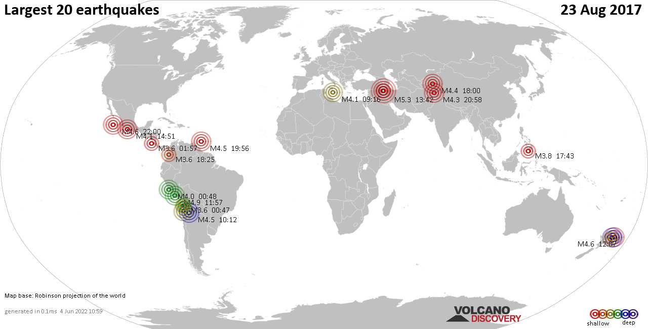 List, maps and statistics of the 20 largest earthquakes on Wednesday, 23 Aug 2017