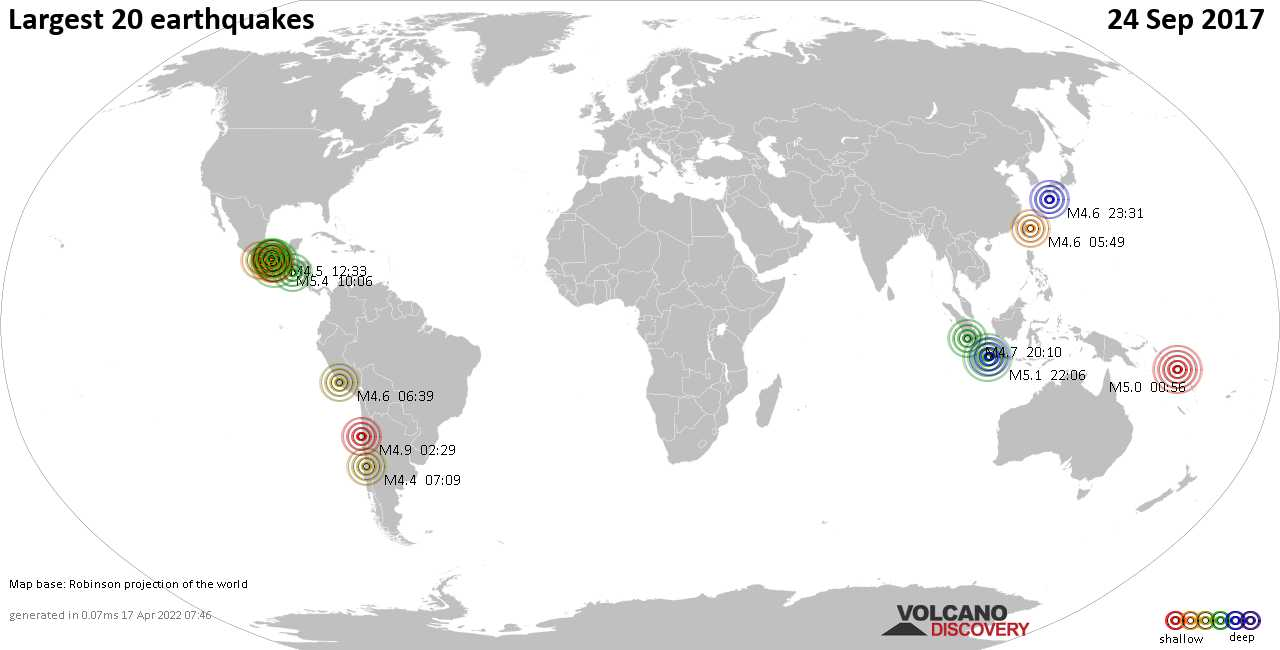List, maps and statistics of the 20 largest earthquakes on Sunday, 24 Sep 2017