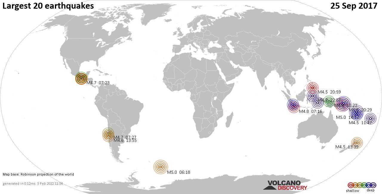 List, maps and statistics of the 20 largest earthquakes on Monday, 25 Sep 2017