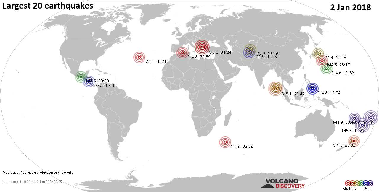 List, maps and statistics of the 20 largest earthquakes on Tuesday,  2 Jan 2018