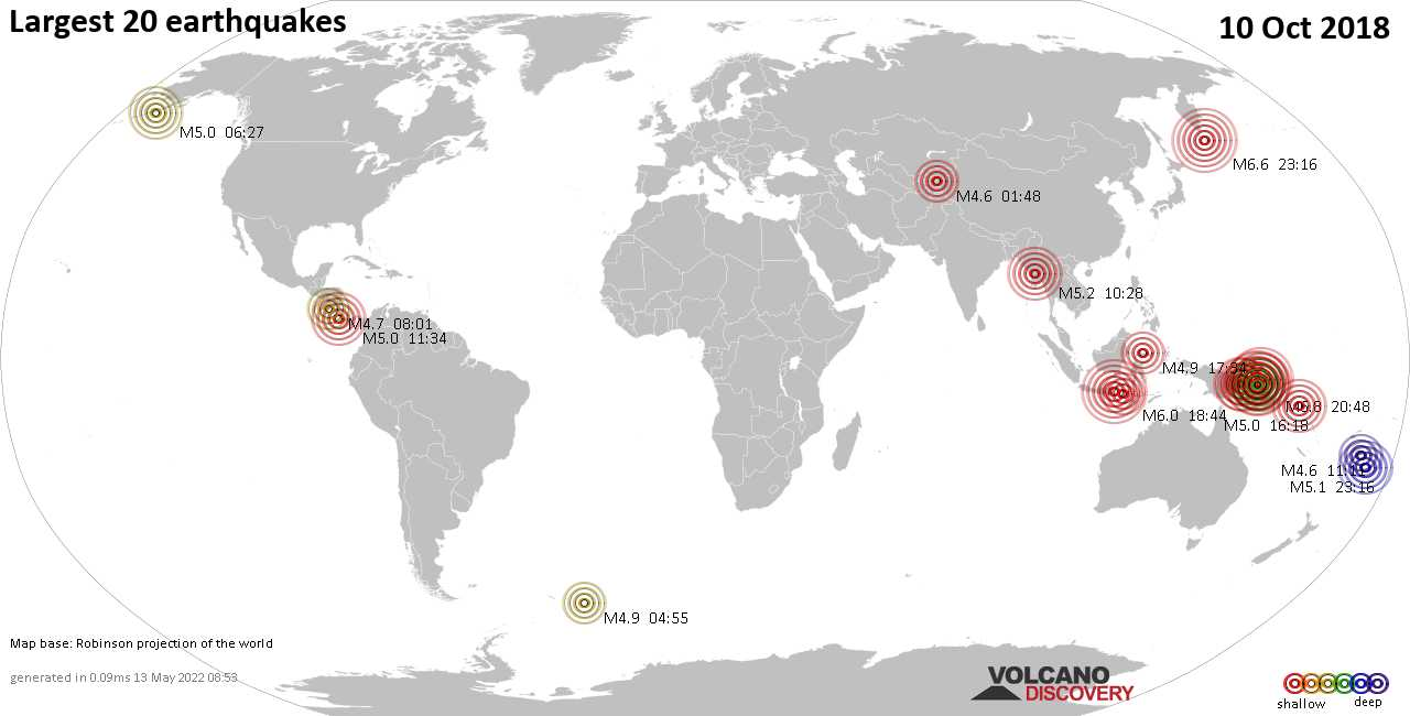 List, maps and statistics of the 20 largest earthquakes on Wednesday, 10 Oct 2018