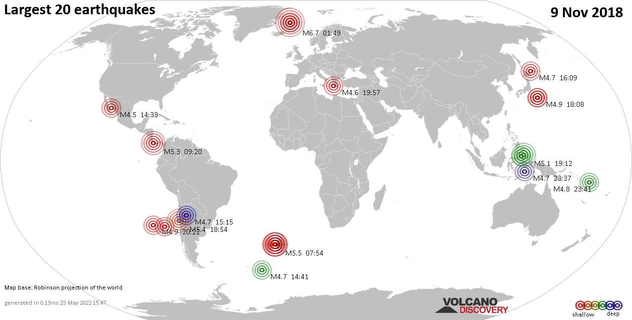 List, maps and statistics of the 20 largest earthquakes on Friday,  9 Nov 2018