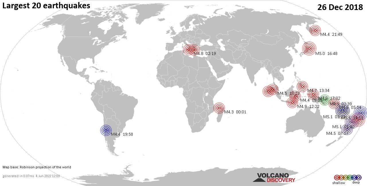 List, maps and statistics of the 20 largest earthquakes on Wednesday, 26 Dec 2018