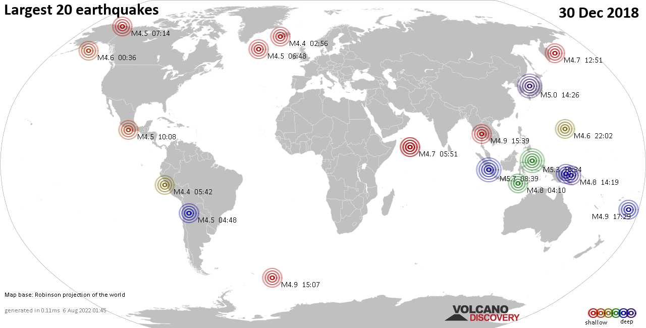 List, maps and statistics of the 20 largest earthquakes on Sunday, 30 Dec 2018