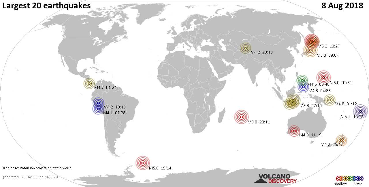 List, maps and statistics of the 20 largest earthquakes on Wednesday,  8 Aug 2018