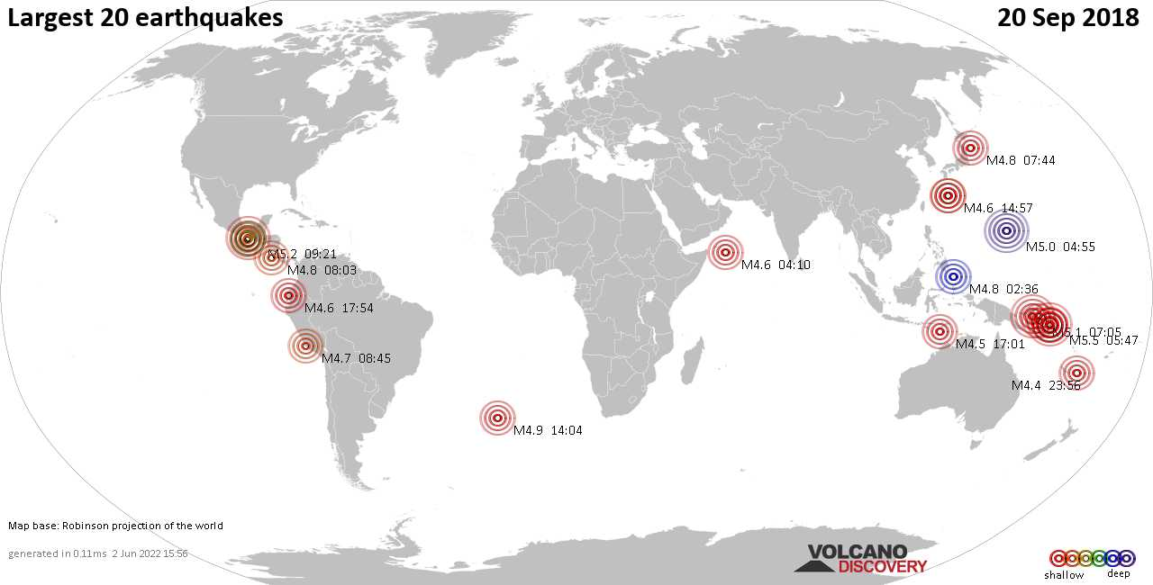 List, maps and statistics of the 20 largest earthquakes on Thursday, 20 Sep 2018