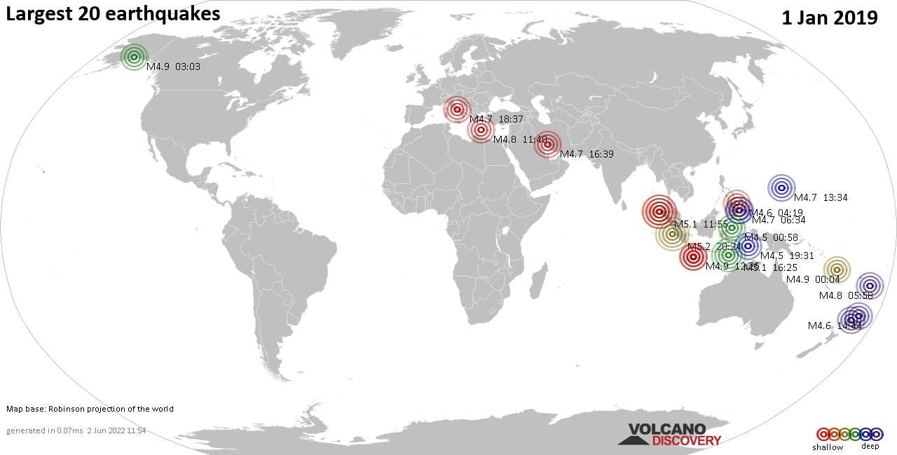 List, maps and statistics of the 20 largest earthquakes on Tuesday,  1 Jan 2019