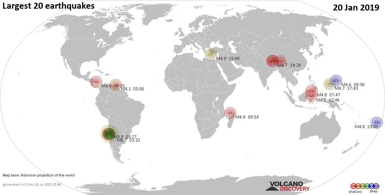 List, maps and statistics of the 20 largest earthquakes on Sunday, 20 Jan 2019