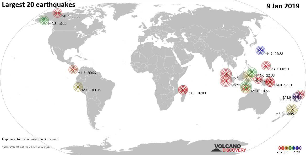 List, maps and statistics of the 20 largest earthquakes on Wednesday,  9 Jan 2019