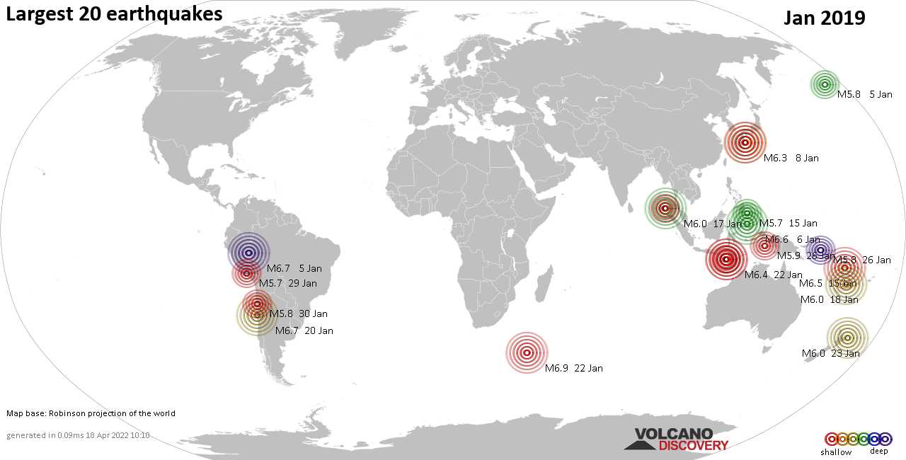 List, maps and statistics of the 20 largest earthquakes in Jan 2019