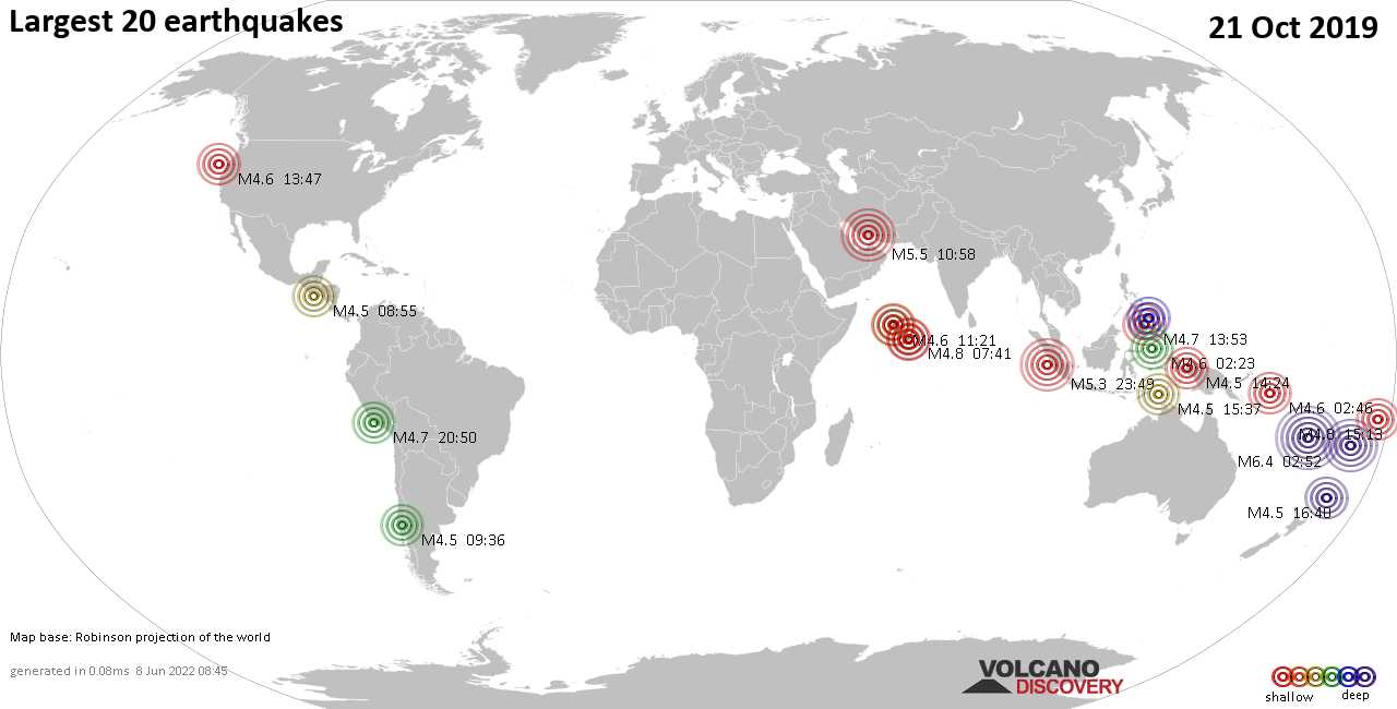 List, maps and statistics of the 20 largest earthquakes on Monday, 21 Oct 2019