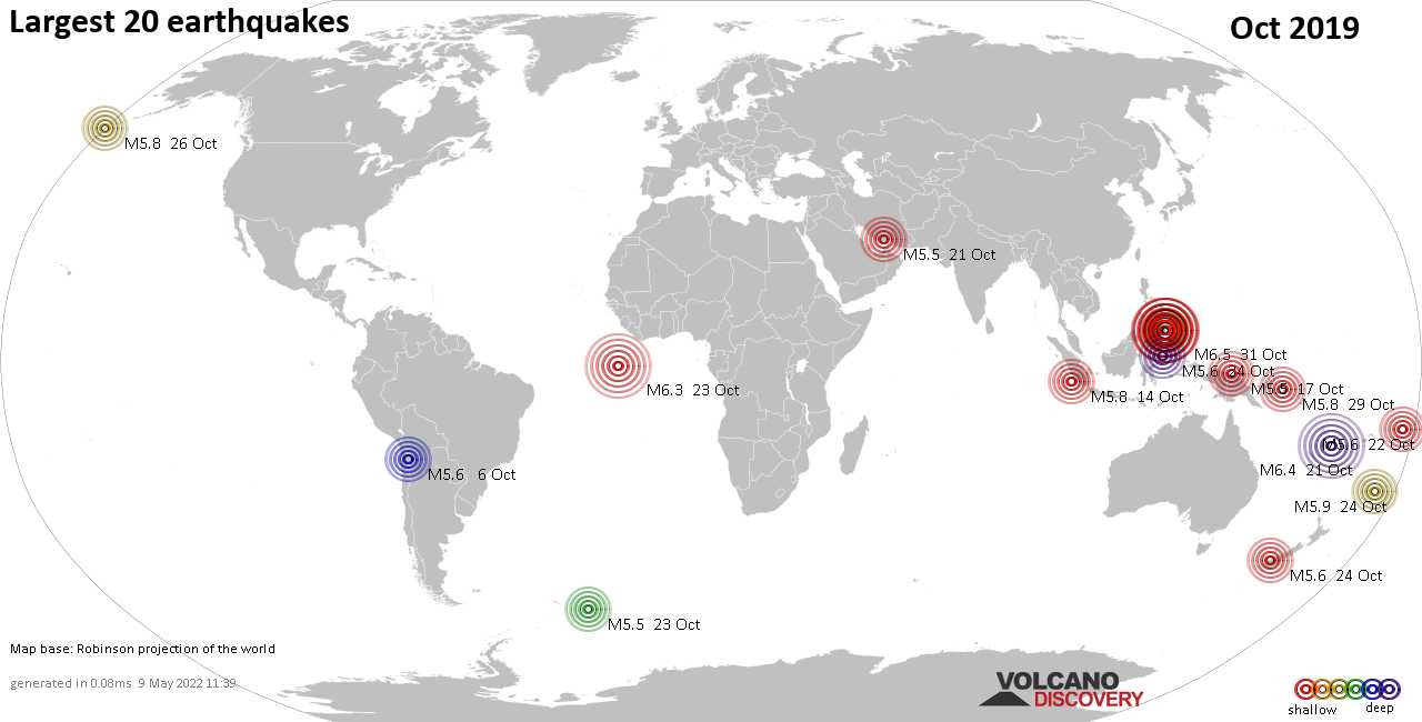 List, maps and statistics of the 20 largest earthquakes in Oct 2019