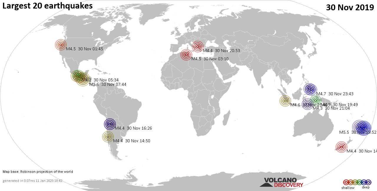 List, maps and statistics of the 20 largest earthquakes on sábado, 30 nov 2019