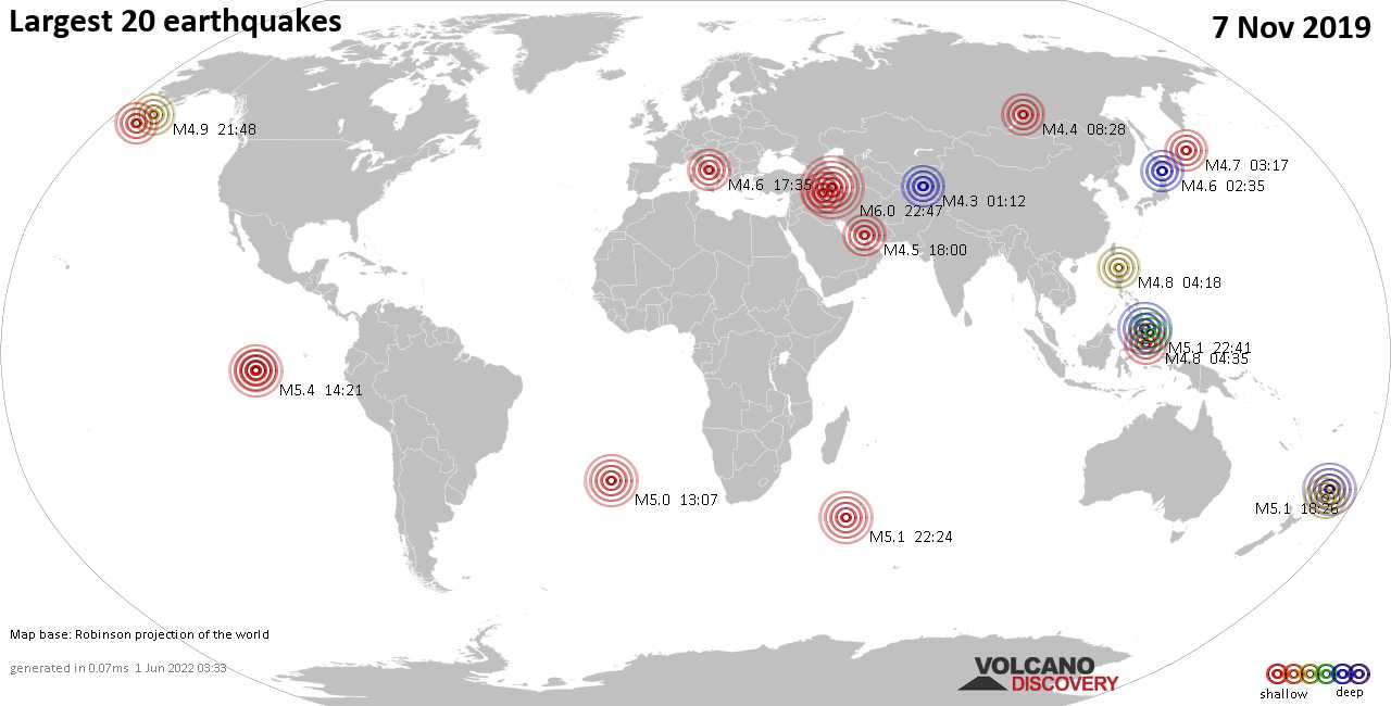 List, maps and statistics of the 20 largest earthquakes on Thursday,  7 Nov 2019