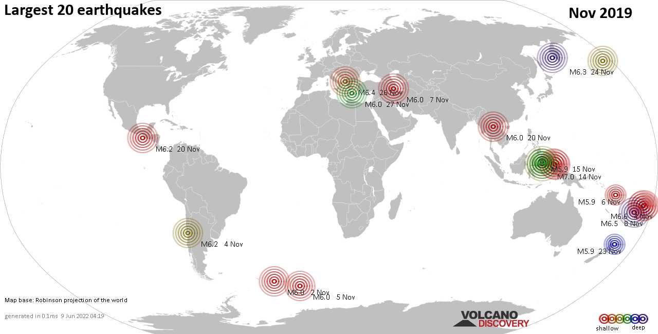 List, maps and statistics of the 20 largest earthquakes in Nov 2019