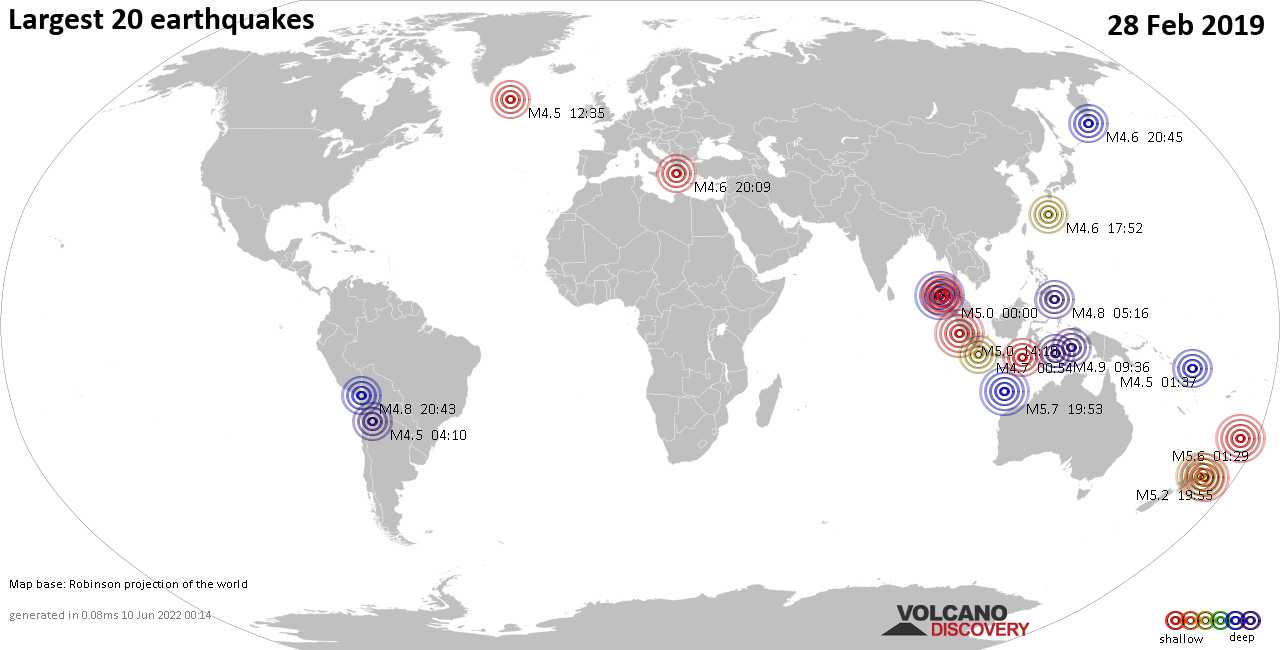 List, maps and statistics of the 20 largest earthquakes on Thursday, 28 Feb 2019