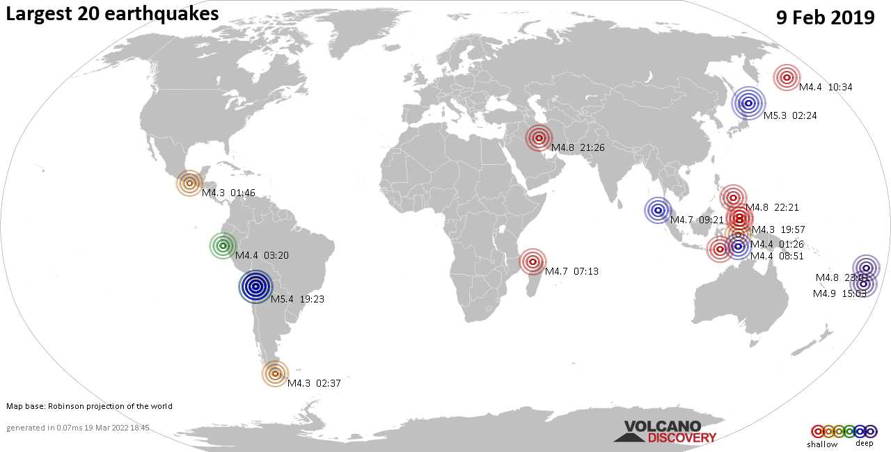 List, maps and statistics of the 20 largest earthquakes on Saturday,  9 Feb 2019