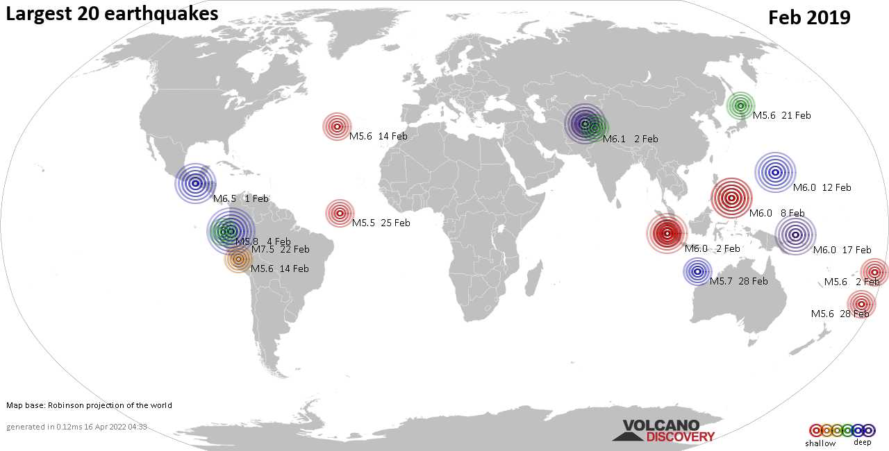 List, maps and statistics of the 20 largest earthquakes in Feb 2019