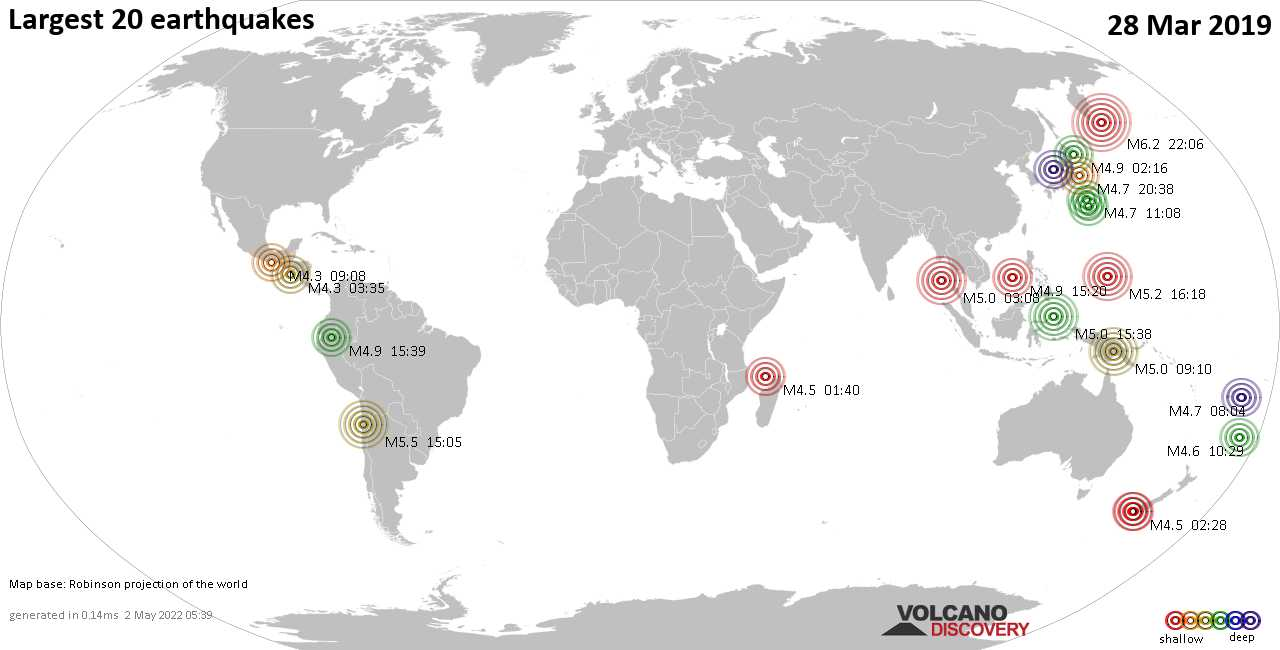 List, maps and statistics of the 20 largest earthquakes on Thursday, 28 Mar 2019