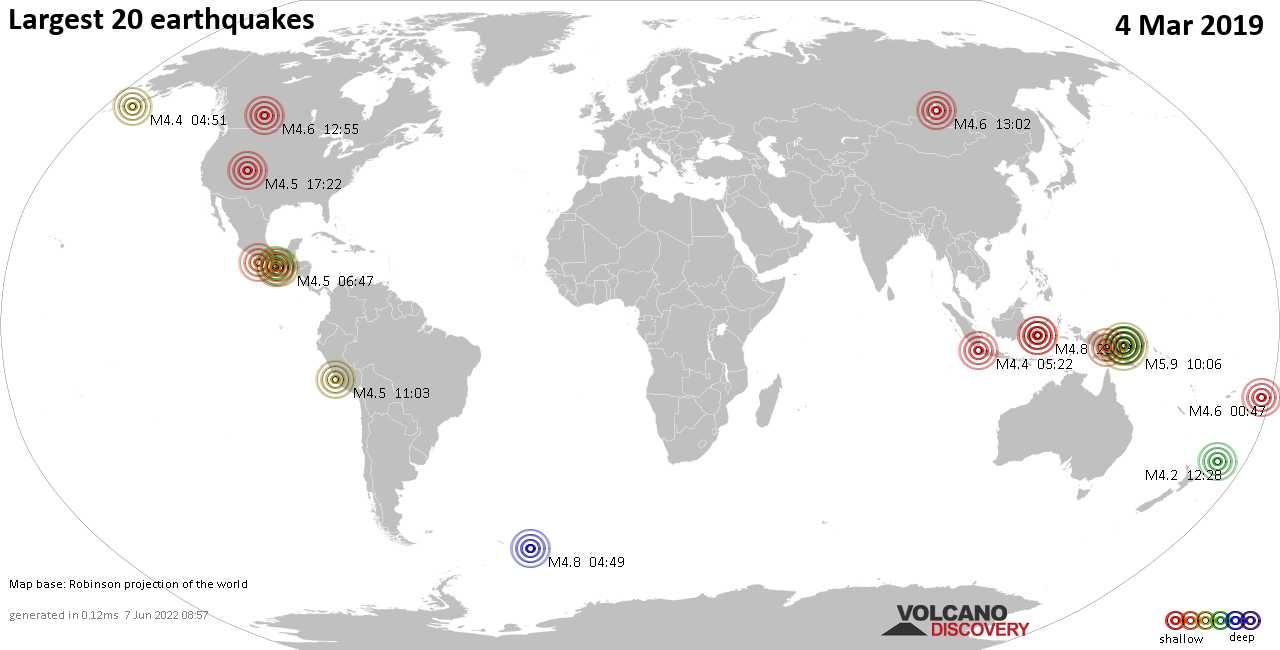 List, maps and statistics of the 20 largest earthquakes on Monday,  4 Mar 2019
