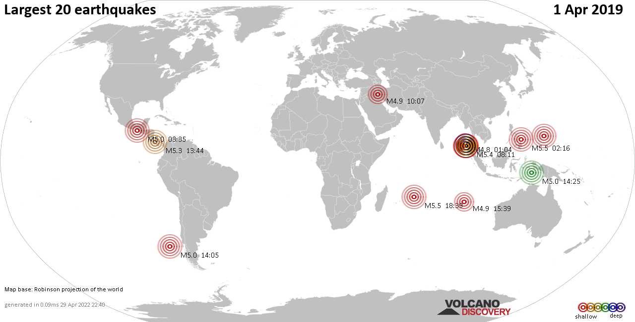 List, maps and statistics of the 20 largest earthquakes on Monday,  1 Apr 2019