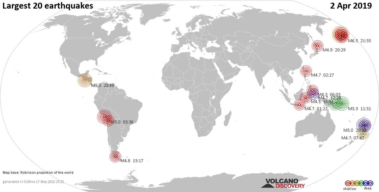 List, maps and statistics of the 20 largest earthquakes on Tuesday,  2 Apr 2019