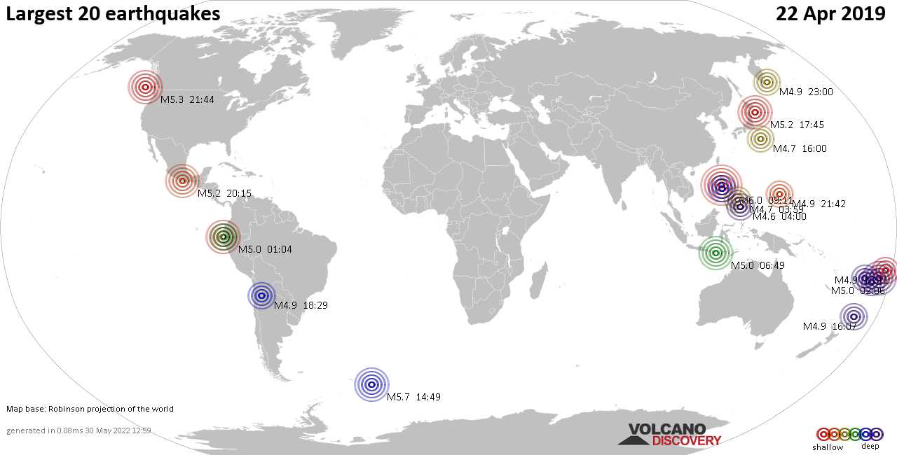 List, maps and statistics of the 20 largest earthquakes on Monday, 22 Apr 2019