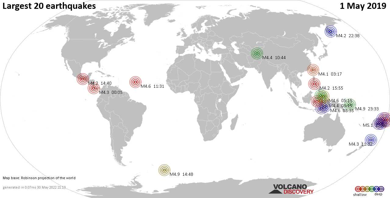 List, maps and statistics of the 20 largest earthquakes on Wednesday,  1 May 2019