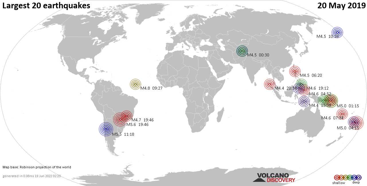 List, maps and statistics of the 20 largest earthquakes on Monday, 20 May 2019