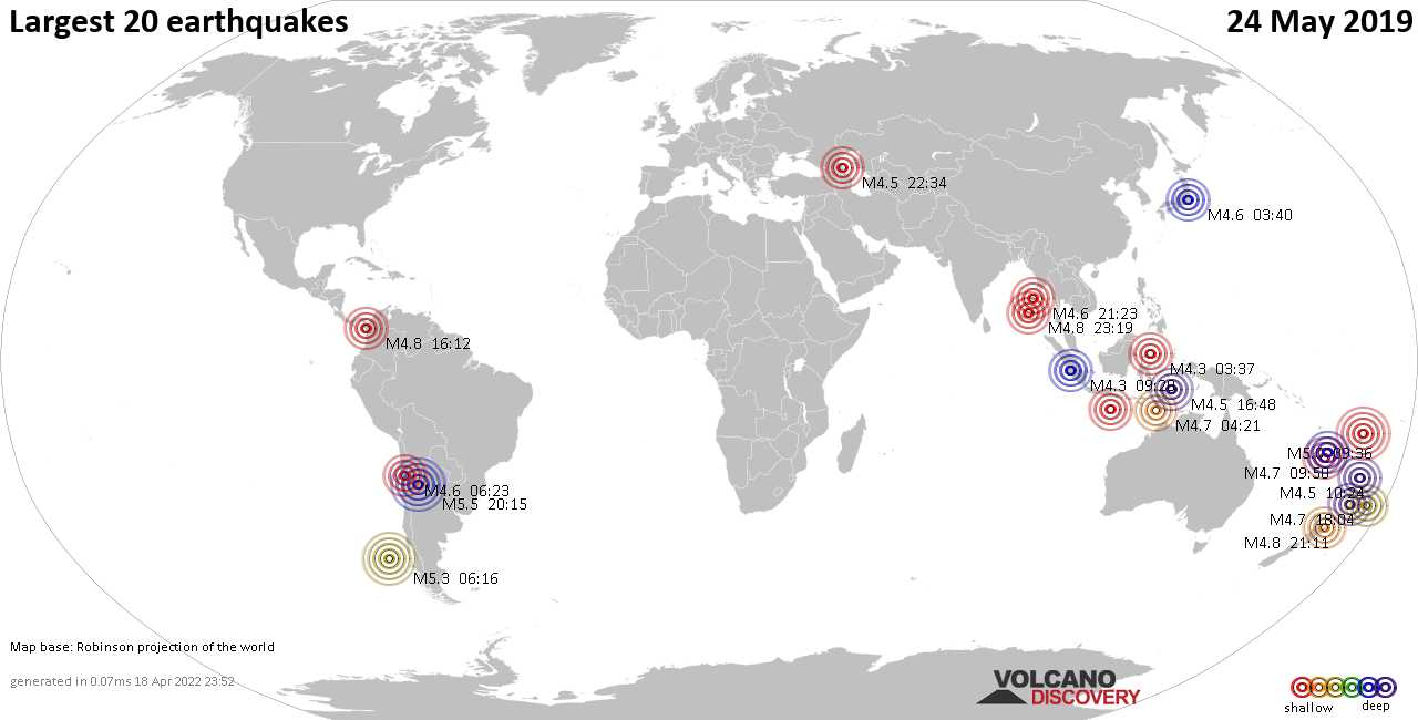 List, maps and statistics of the 20 largest earthquakes on Friday, 24 May 2019
