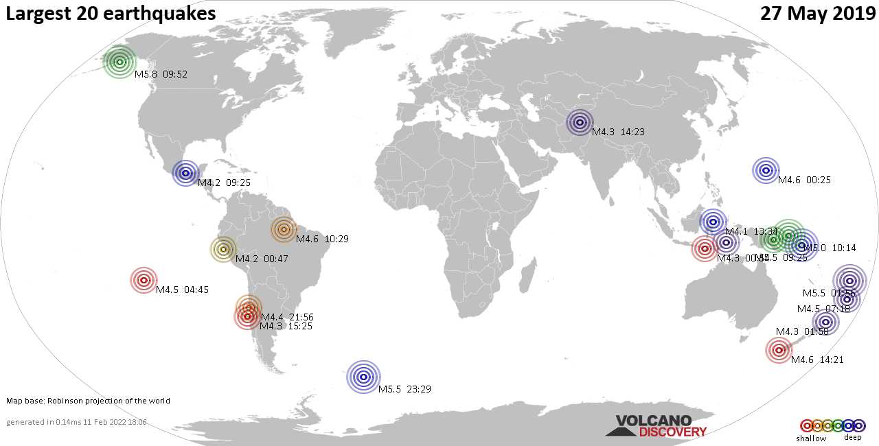 List, maps and statistics of the 20 largest earthquakes on Monday, 27 May 2019