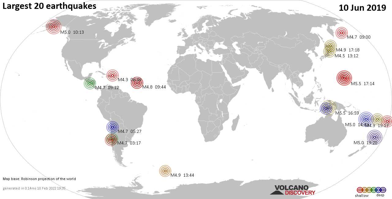 List, maps and statistics of the 20 largest earthquakes on Monday, 10 Jun 2019