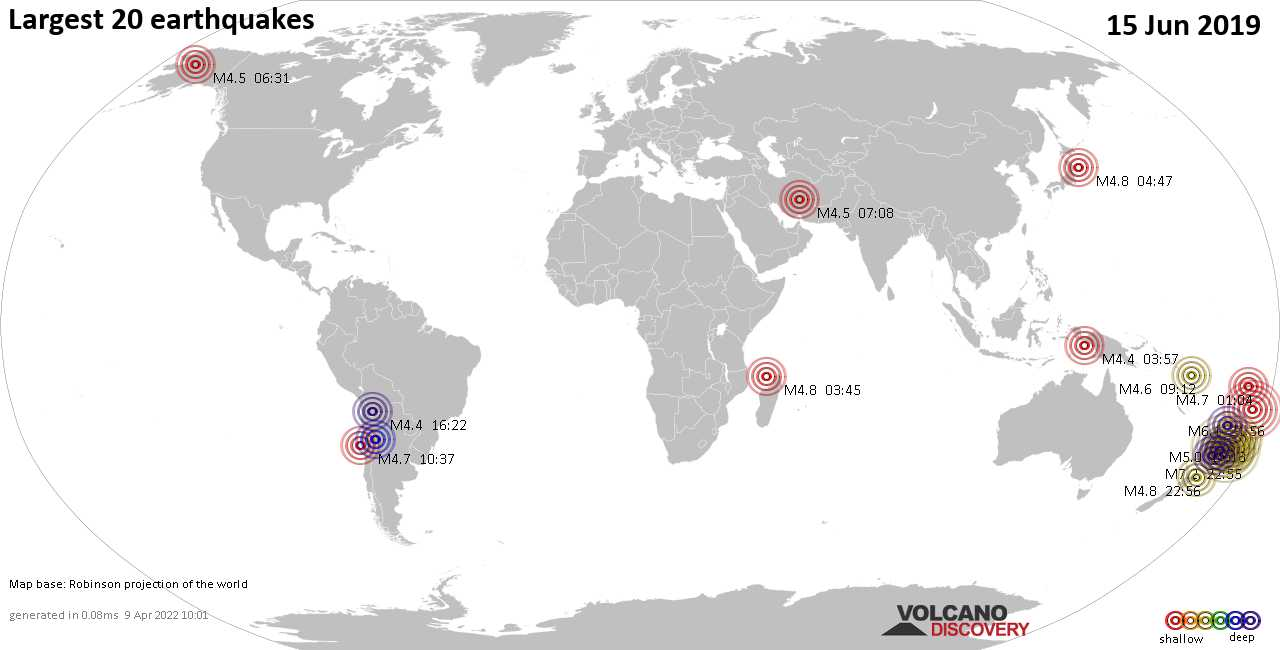 List, maps and statistics of the 20 largest earthquakes on Saturday, 15 Jun 2019