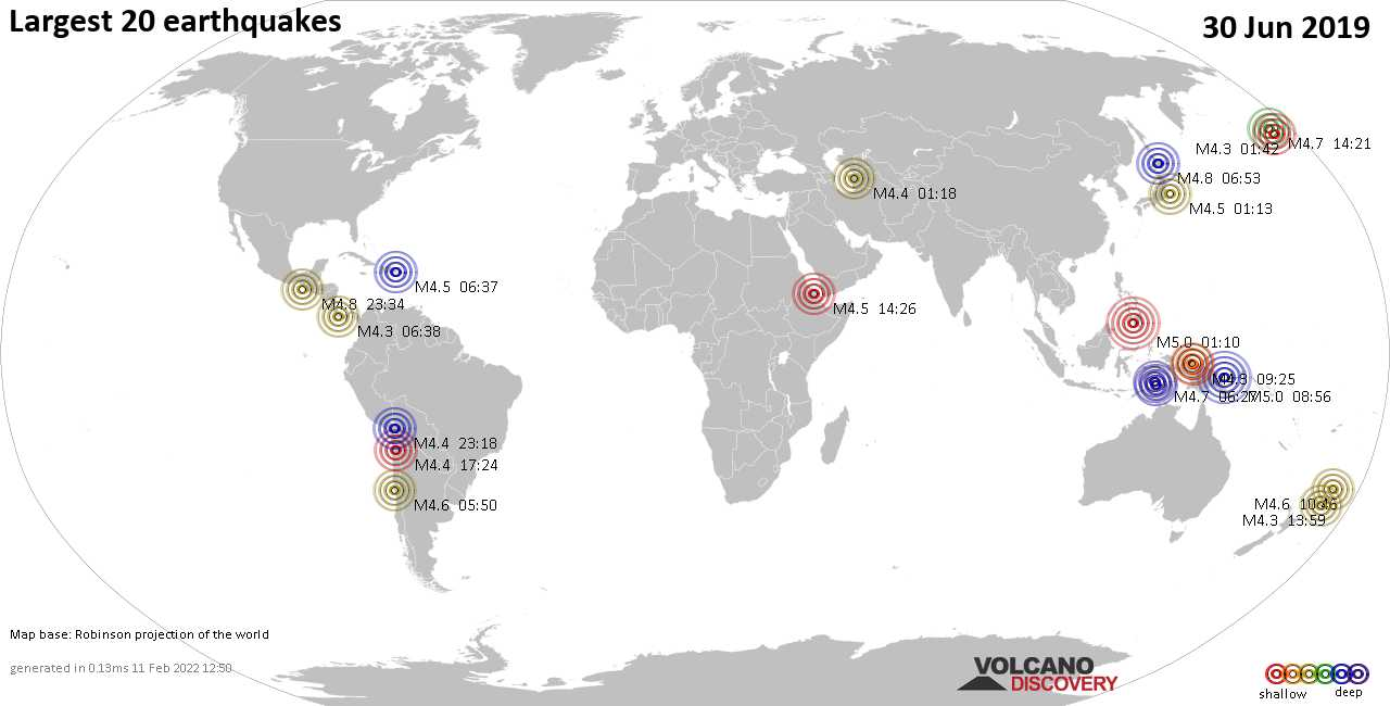 List, maps and statistics of the 20 largest earthquakes on Sunday, 30 Jun 2019