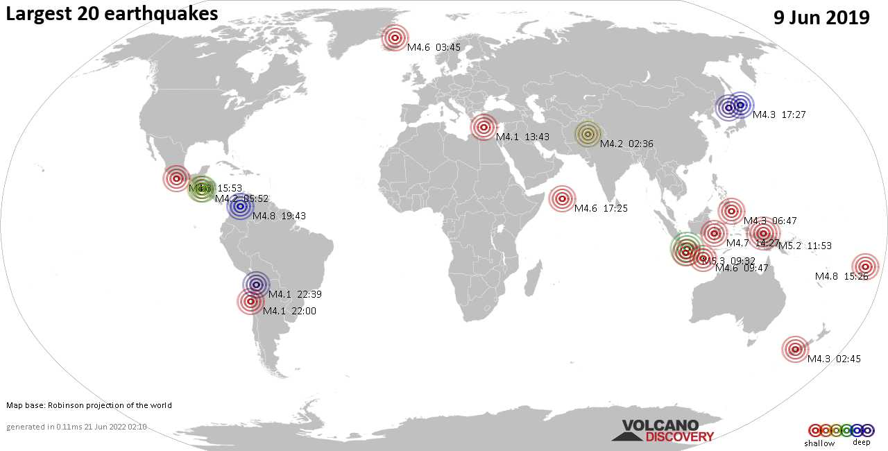 List, maps and statistics of the 20 largest earthquakes on Sunday,  9 Jun 2019