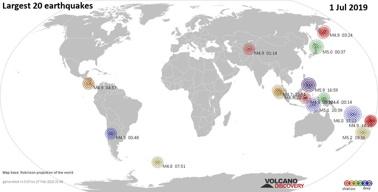 List, maps and statistics of the 20 largest earthquakes on Monday,  1 Jul 2019