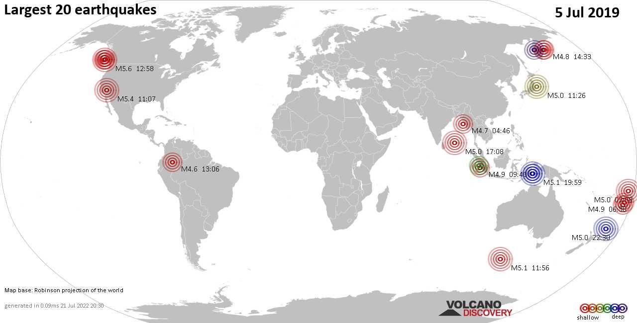 List, maps and statistics of the 20 largest earthquakes on viernes,  5 jul 2019