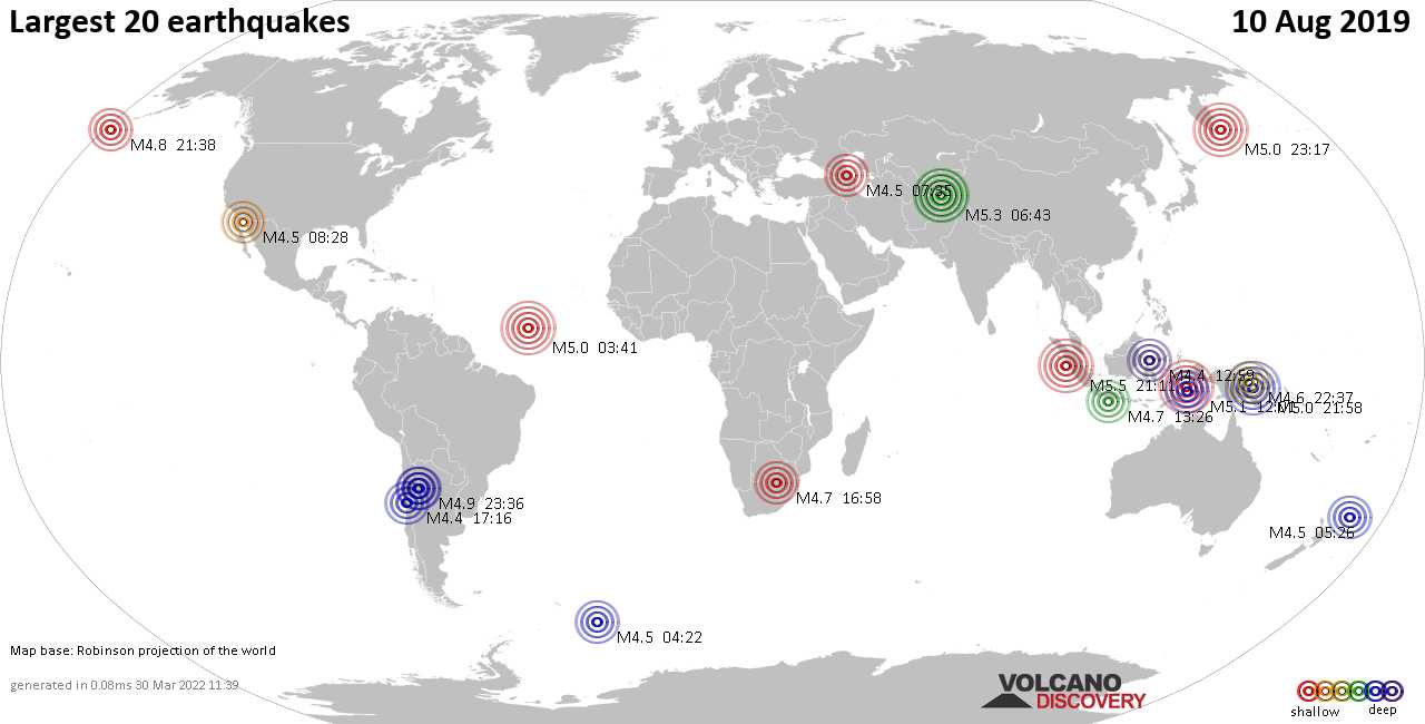 List, maps and statistics of the 20 largest earthquakes on Saturday, 10 Aug 2019