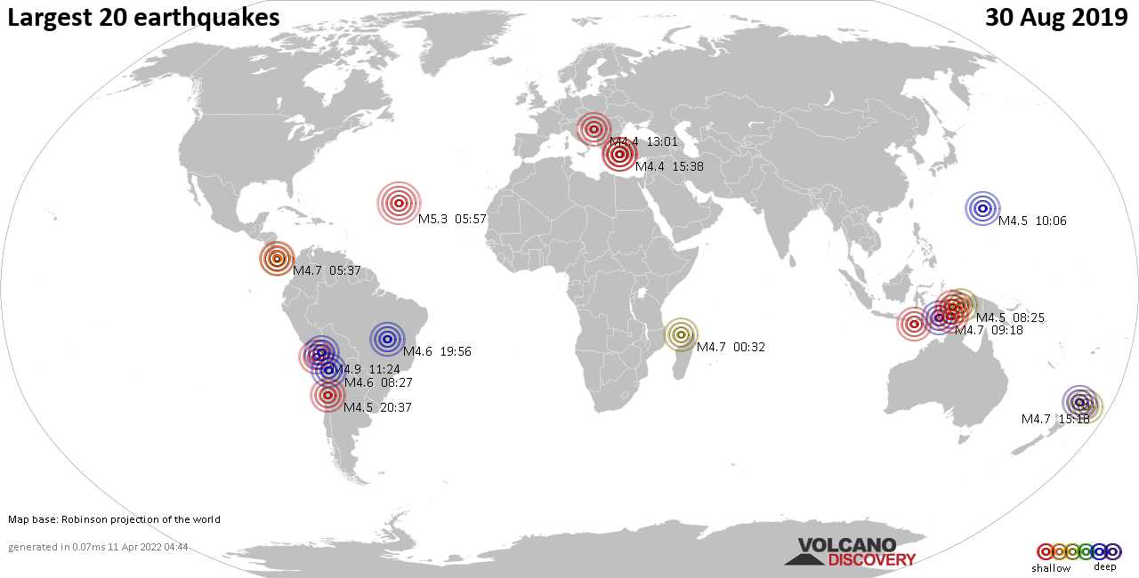 List, maps and statistics of the 20 largest earthquakes on Friday, 30 Aug 2019