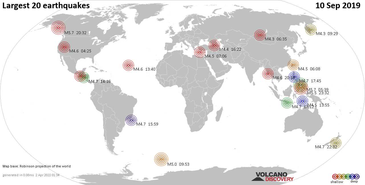 List, maps and statistics of the 20 largest earthquakes on Tuesday, 10 Sep 2019