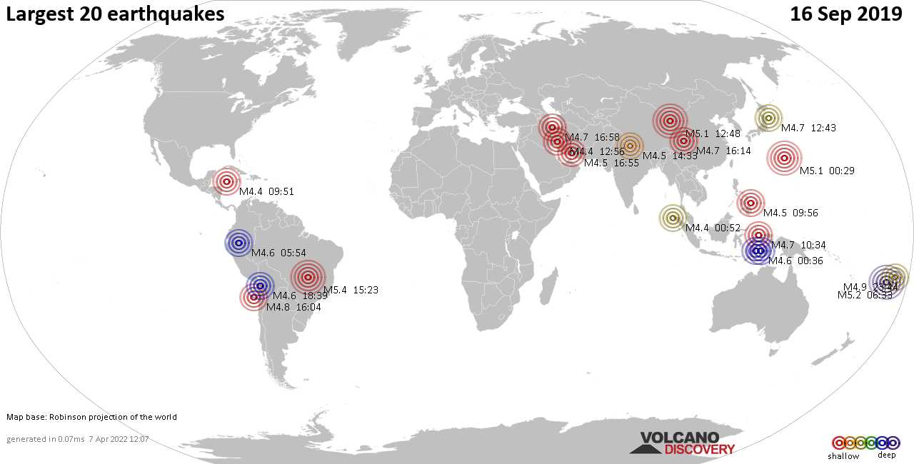 List, maps and statistics of the 20 largest earthquakes on Monday, 16 Sep 2019